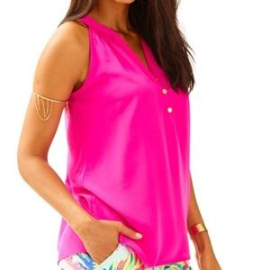 Lilly Pulitzer Bailey Pink Silk Tank Top